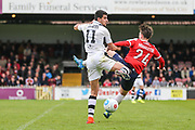 Forest Green Rovers Omar Bugiel(11) andYork City's Sam Muggleton(24) during the Vanarama National League match between York City and Forest Green Rovers at Bootham Crescent, York, England on 29 April 2017. Photo by Shane Healey.