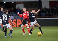 24th November 2017, Dens Park, Dundee, Scotland; Scottish Premier League football, Dundee versus Rangers; Dundee's Cammy Kerr battles for the ball with Rangers' Kenny Miller