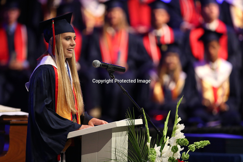 Nicole Becker, TCPS Salutatorian, speaks to her graduating class and to those in attendance Saturday afternoon during the TCPS graduation ceremony at West Jackson Street Baptist Church.