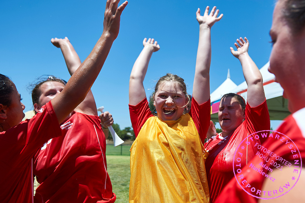 SO Poland athletes smiles while halftime football women match 7-a-side during fourth day of the Special Olympics World Games Los Angeles 2015 on July 28, 2015 at Balboa Sports Centre in Los Angeles, USA.<br /> USA, Los Angeles, July 28, 2015<br /> <br /> Picture also available in RAW (NEF) or TIFF format on special request.<br /> <br /> For editorial use only. Any commercial or promotional use requires permission.<br /> <br /> Adam Nurkiewicz declares that he has no rights to the image of people at the photographs of his authorship.<br /> <br /> Mandatory credit:<br /> Photo by &copy; Adam Nurkiewicz / Mediasport