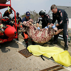 Los Angeles County Firefighter Rich Atwood,Left, of Pico Rivera along with helicopter pilots take 93 year-old Marie C. Lindsey to safety at the Louie Armstrong International Airport during the aftermath of Hurricane Katrina Saturday, September 3, 2005 in New Orleans, Louisiana.  <br /> (Pasadena Star-News Keith Birmingham)