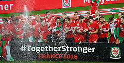 CARDIFF, WALES - Tuesday, October 13, 2015: Wales players celebrate after qualifying for the finals following a 2-0 victory over Andorra during the UEFA Euro 2016 qualifying Group B match at the Cardiff City Stadium. Joe Ledley, Chris Gunter, Gareth Bale, Aaron Ramsey, Neil Taylor, Simon Church, Andy King, Emyr Huws, Ben Davies, Wes Burns, Tom Lawrence, Sam Vokes, James Chester, Ashley 'Jazz' Richards, goalkeeper Owain Fon Williams. (Pic by Paul Currie/Propaganda)