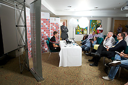 CARDIFF, WALES - Tuesday, August 14, 2012: Wales' captain Aaron Ramsey during a press conference ahead of the international friendly match against Bosnia-Herzegovina. (Pic by David Rawcliffe/Propaganda)