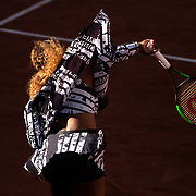 PARIS, FRANCE June 01. Serena Williams of the United States warming up before her match against Sofia Kenin of the United States during the Women's Singles third round match on Court Philippe-Chatrier at the 2019 French Open Tennis Tournament at Roland Garros on June 1st 2019 in Paris, France. (Photo by Tim Clayton/Corbis via Getty Images)