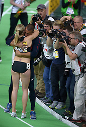 United States' Ashton Eaton (back) hugs his wife, Canada's Brianne Theisen Eaton after she won the women's 800-meter sprint of the pentathlon and the overall pentathlon event during day two of the IAAF World Indoor Championships at Oregon Convention Center in Portland, Oregon, the United States, on March 18, 2016. EXPA Pictures © 2016, PhotoCredit: EXPA/ Photoshot/ Yin Bogu<br /> <br /> *****ATTENTION - for AUT, SLO, CRO, SRB, BIH, MAZ, SUI only*****