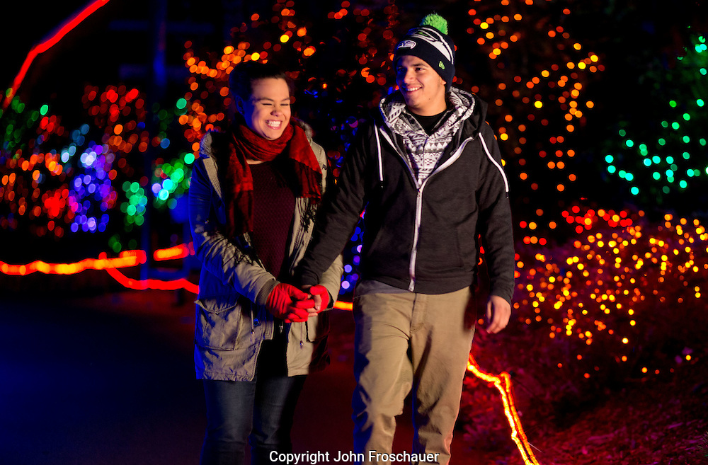 Zoolights at Point Defiance Zoo and Aquarium  in Tacoma on Thursday, Nov. 13, 2014. (PLU Photo/John Froschauer)