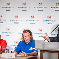 2014 EurAsia Cup Captains Announcement Press Conference with Thongchai Jaidee and Miguel-Angel Jimenez at Marco Polo Hotel, Hong Kong, 2nd December 2013. Photo by Raf Sanchez