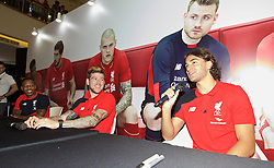 KUALA LUMPUR, MALAYSIA - Wednesday, July 22, 2015: Liverpool's Nathaniel Clyne, Alberto Moreno and Lazar Markovic during an event at the Mid Valley Mega Mall on day ten of the club's preseason tour. (Pic by David Rawcliffe/Propaganda)