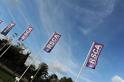 RSCA flags line the outside of the stadium - Photo mandatory by-line: Dougie Allward/JMP - Mobile: 07966 386802 - 22/10/2014 - SPORT - Football - Anderlecht - Constant Vanden Stockstadion - R.S.C. Anderlecht v Arsenal - UEFA Champions League - Group D