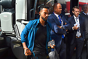 Theo Walcott (11) of Everton gets off the team bus on arrival at the Vitality Stadium ahead of the Premier League match between Bournemouth and Everton at the Vitality Stadium, Bournemouth, England on 15 September 2019.