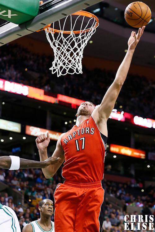 17 November 2012: Toronto Raptors center Jonas Valanciunas (17) grabs an offensive rebound during the Boston Celtics 107-89 victory over the Toronto Raptors at the TD Garden, Boston, Massachusetts, USA.