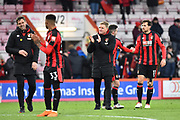 Bournemouth manager Eddie Howe applauds, claps the fans at full time after a 2-1 win over West Bromwich Albion during the Premier League match between Bournemouth and West Bromwich Albion at the Vitality Stadium, Bournemouth, England on 17 March 2018. Picture by Graham Hunt.