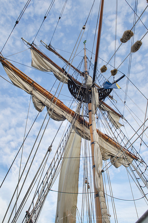 Mast rigging and sails of Hawaiian Chieftain, a Square Topsail Ketch. Owned and operated by the Grays Harbor Historical Seaport, Aberdeen, Washington