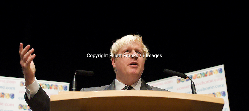 Boris Johnson, Mayor of London at a Conservative Home fringe meeting during the Conservative Party Conference, ICC, Birmingham, Great Britain, October 8, 2012. Photo by Elliott Franks / i-Images.