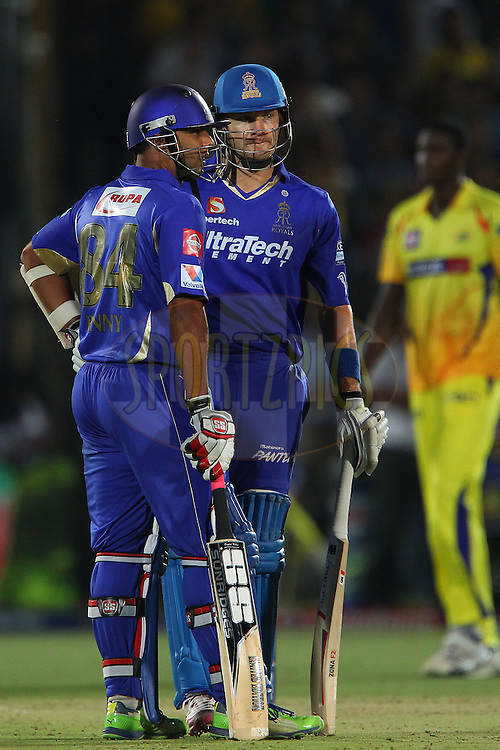 Stuart Binny and Shane Watson during match 61 of the Pepsi Indian Premier League ( IPL) 2013  between The Rajasthan Royals and the Chennai SUperkings held at the Sawai Mansingh Stadium in Jaipur on the 12th May 2013..Photo by Ron Gaunt-IPL-SPORTZPICS ..Use of this image is subject to the terms and conditions as outlined by the BCCI. These terms can be found by following this link:..http://www.sportzpics.co.za/image/I0000SoRagM2cIEc