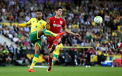 Josh Murphy of Norwich City clears the ball from Callum O'Dowda of Bristol City - Mandatory by-line: Robbie Stephenson/JMP - 16/08/2016 - FOOTBALL - Carrow Road - Norwich, England - Norwich City v Bristol City - Sky Bet Championship