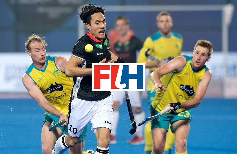 Odisha Men's Hockey World League Final Bhubaneswar 2017<br /> Match id:05<br /> 05 GER v AUS (Pool B)<br /> Foto:  Aran Zalewski (Aus) (l) Dan Nguyen (Ger) Daniel Beale (Aus) <br /> WORLDSPORTPICS COPYRIGHT FRANK UIJLENBROEK