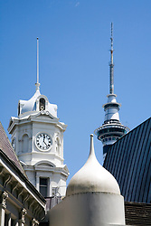 Three distinctive towers, downtown Auckland.