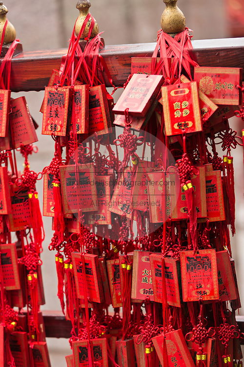 Prayer and wishes hanging at the Temple of Confucius in Beijing, China