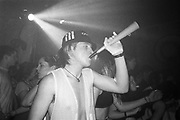 Man with a party horn, Dream FM Pirate Radio Benefit, Labyrinth Dalston, London, 1994