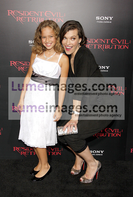 LOS ANGELES, CA - SEPTEMBER 12, 2012: Milla Jovovich and Aryana Engineer at the Los Angeles premiere of 'Resident Evil: Retribution' held at the Regal Cinemas L.A. Live in Los Angeles, USA on September 12, 2012.