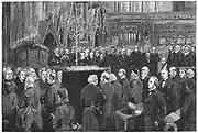 Charles Robert Darwin (1809-1882), English naturalist. Evolution by Natural Selection. Darwin's funeral in Westminster Abbey, from 'The Graphic', London , 6 May 1882. Engraving
