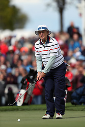 USA's Bill Murray during a celebrity golf match ahead of the 41st Ryder Cup at Hazeltine National Golf Club in Chaska, Minnesota, USA.