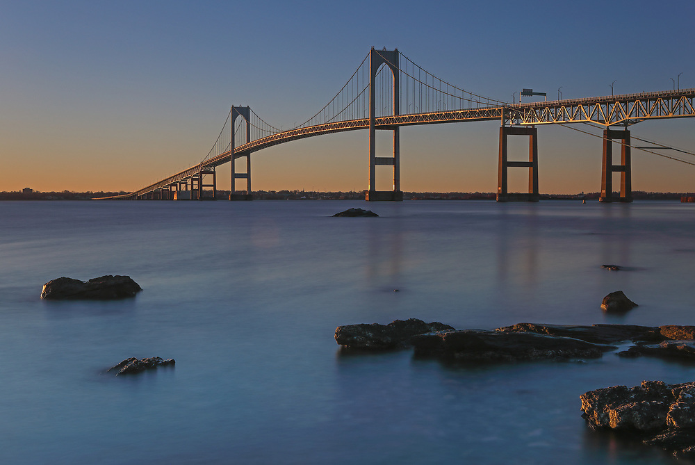 Rhode Island long exposure photography pictures of the Newport Bridge are available for photo image licensing and as museum quality photography prints, canvas prints, acrylic prints, wood prints or metal prints. Wall art prints may be framed and matted to the individual liking and room decor needs:<br />