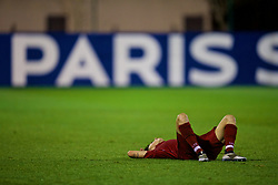SAINT-GERMAIN-EN-LAYE, FRANCE - Wednesday, November 28, 2018: Liverpool's captain Adam Lewis looks dejected as his side lose 3-2 during the UEFA Youth League Group C match between Paris Saint-Germain Under-19's and Liverpool FC Under-19's at Stade Georges-Lefèvre. (Pic by David Rawcliffe/Propaganda)