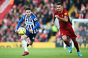 Brighton and Hove Albion forward Aaron Connolly (44) and Liverpool defender Dejan Lovren (6) during the Premier League match between Liverpool and Brighton and Hove Albion at Anfield, Liverpool, England on 30 November 2019.