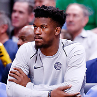 05 April 2018: Minnesota Timberwolves guard Jimmy Butler (23) is seen on the bench during the Denver Nuggets 100-96 victory over the Minnesota Timberwolves, at the Pepsi Center, Denver, Colorado, USA.