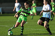 Forest Green Rovers Abby Dance(5) on the ball during the South West Womens Premier League match between Forest Greeen Rovers Ladies and Marine Academy Plymouth LFC at Slimbridge FC, United Kingdom on 5 November 2017. Photo by Shane Healey.