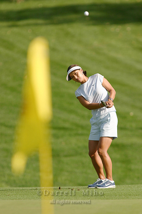 March 26, 2004; Rancho Mirage, CA, USA;  Grace Park chips onto the green during the second round of the LPGA Kraft Nabisco golf tournament held at Mission Hills Country Club.  Park finsished the day with a 3 under par 69.  Park eventually won the tournament, her first major, by one stroke over Aree Song with an overall score of 11 under par 277.  <br />Mandatory Credit: Photo by Darrell Miho <br />&copy; Copyright Darrell Miho