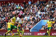 Aston Villa striker Keinan Davis (39) heads at goal during the EFL Sky Bet Championship match between Aston Villa and Norwich City at Villa Park, Birmingham, England on 19 August 2017. Photo by Dennis Goodwin.