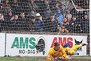 Shrewsbury Town goalkeeper Dean Henderson (1) makes a saves a penalty during the EFL Sky Bet League 1 match between Scunthorpe United and Shrewsbury Town at Glanford Park, Scunthorpe, England on 17 March 2018. Picture by Mick Atkins.