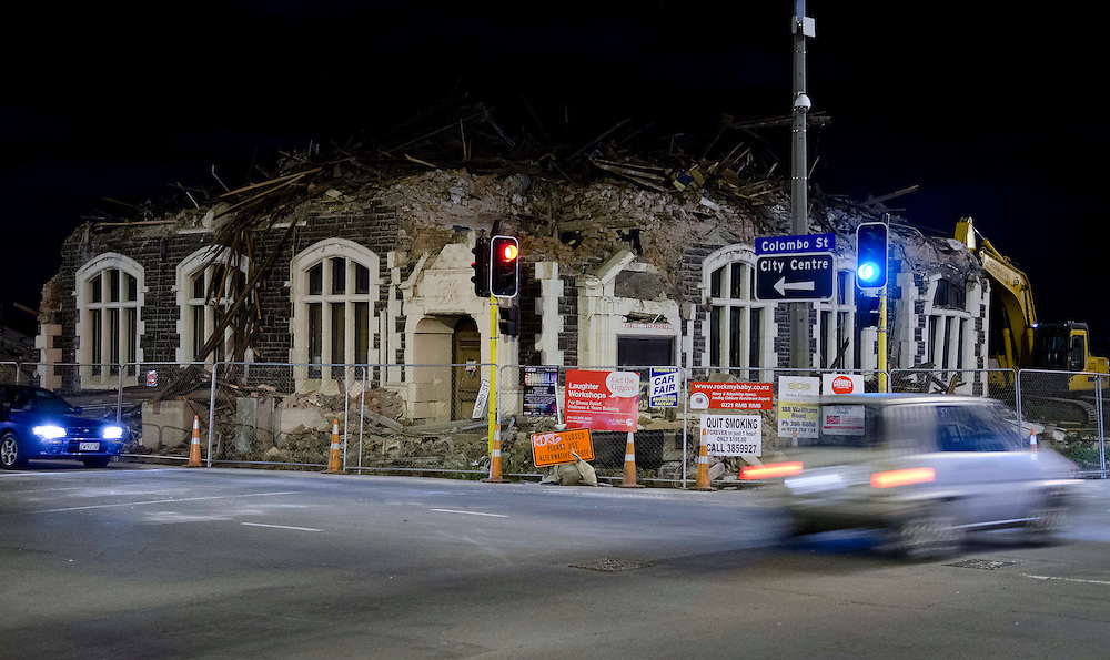 The partially demolished Sydenham Post Office building made safe after the swarm of earthquakes, Christchurch, New Zealand, Friday, December 23, 2011. Credit:  SNPA / David Alexander