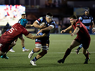 Ellis Jenkins of Cardiff Blues under pressure from Tadhg Beirne of Munster<br /> <br /> Photographer Simon King/Replay Images<br /> <br /> Guinness PRO14 Round 4 - Cardiff Blues v Munster - Friday 21st September 2018 - Cardiff Arms Park - Cardiff<br /> <br /> World Copyright © Replay Images . All rights reserved. info@replayimages.co.uk - http://replayimages.co.uk