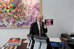 UK ENGLAND LONDON 21APR16 - Deutsche Bank CEO John Cryan holds a portrait of Her Majesty the Queen (on her birthday, 21st April) at the company's UK  headquarters in the City of London.<br /> <br /> <br /> jre/Photo by Jiri Rezac<br /> <br /> <br /> © Jiri Rezac 2016