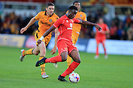 Andrew Osei-Bonsu of Milton Keynes Dons in action.EFL cup, 1st round match, Newport county v Milton Keynes Dons at Rodney Parade in Newport, South Wales on Tuesday 9th August 2016.<br /> pic by Andrew Orchard, Andrew Orchard sports photography.