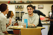 Ohio University students Devin Middleton and Steven Drakulich talk in Nelson Dining hall after dinner on Sunday, December 2, 2012.  (© Brien Vincent)