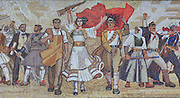 Monumental mosaic on the facade of the National Historical Museum or Muzeu Historik Kombetar entitled 'The Albanians', depicting the people marching for independence, Tirana, Albania. The museum, on Skanderbeg Square or Sheshi Skenderbej, was inaugurated 28th October 1981 and is the largest museum in Albania, built in soviet communist style. Tirana was founded by the Ottomans in 1614 by Sulejman Bargjini and became the capital of Albania in 1920. Picture by Manuel Cohen