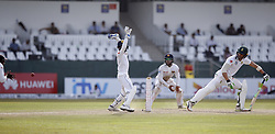 July 22, 2018 - Colombo, Sri Lanka - South African cricket captain Faf Du Plessis ( 4L) looks on after edging  the ball as Sri Lankan cricketer Angelo Mathews (L) completes the catch during the 3rd day's play in the 2nd test cricket match between Sri Lanka and South Africa at SSC International Cricket ground, Colombo, Sri Lanka on Sunday  22 July 2018  (Credit Image: © Tharaka Basnayaka/NurPhoto via ZUMA Press)