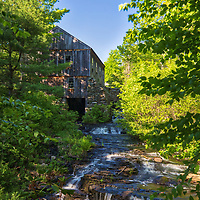 Moore State Park in Paxton is a peaceful retreat in the heart of central Massachusetts. This photo includes the Sawmill and was taken on a beautiful spring afternoon when the sky displayes a picture perfect blue.<br />