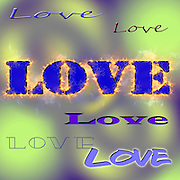 Digitally enhanced Love text