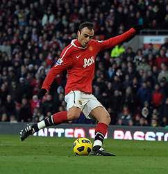 Dimitar Berbatov  (Man Utd) completes his hat-trick during the Barclays Premier League match between Manchester United and Blackburn Rovers at Old Trafford on November 27, 2010 in Manchester, England.