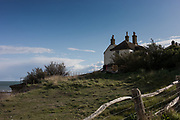 East Sussex, England, UK, May 4 2019 - The coastguard cottages near the Seven Sisters cliffs, on the Seaford Head side.