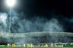 Stadium in fog due to pyrotechnic torches during the UEFA EURO 2016 Play-off for Final Tournament, Second leg between Slovenia and Ukraine, on November 17, 2015 in Stadium Ljudski vrt, Maribor, Slovenia. Photo by Vid Ponikvar / Sportida