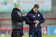 Forest Green Rovers head coach, Mark Cooper and Forest Green Rovers strength and conditioning coach Tom Huelin during the EFL Sky Bet League 2 match between Morecambe and Forest Green Rovers at the Globe Arena, Morecambe, England on 22 October 2019.