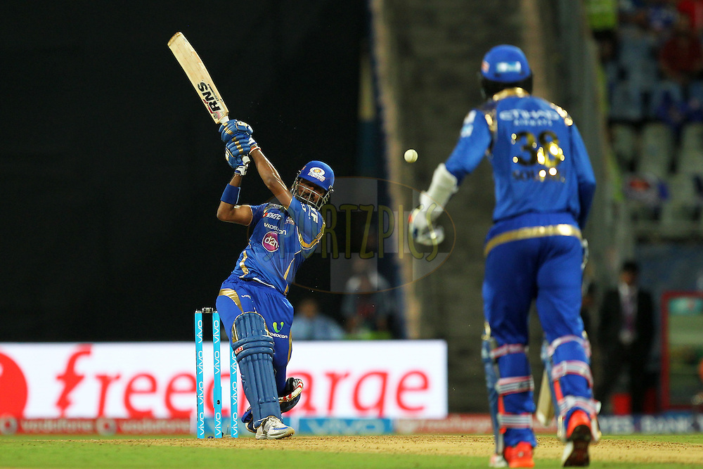 Krunal Pandya of Mumbai Indians in action during match 9 of the Vivo Indian Premier League ( IPL ) 2016 between the Mumbai Indians and the Gujarat Lions held at the Wankhede Stadium in Mumbai on the 16th April 2016Photo by Prashant Bhoot/ IPL/ SPORTZPICS