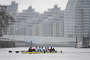 London. UNITED KINGDOM.  Oxford University BC vs German Crew. Varsity Fixture before the 159th BNY Mellon Boat Race on the Championship Course, River Thames, Putney/Mortlake.  Sunday  17/03/2013    [Mandatory Credit. Intersport Images], Oxford from Bow, Patrick Close, Geordie Macleod, Alex Davidson, Sam O'Connor, Paul Bennett, Karl Hudspith, Constantine Louloudis, Malcolm Howard and Cox Oskar Zorrilla. Germany from Bow, Toni Seifert 2012 M4-, Felix Wimberger 2012 U23 M8+, Maximilian Reinelt 2012 M8+, Felix Drahotta 2012 M2-, Anton Braun 2012 M2-, Kristof Wilke 2012 M8+, Richard Schmidt 2012 M8+, Eric Johannesen 2012 M8+ and Cox Martin Sauer 2012 M8+..Germany warming up below Putney Bridge.